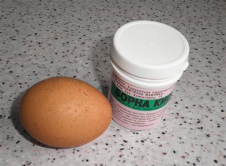 Egg and boric acid