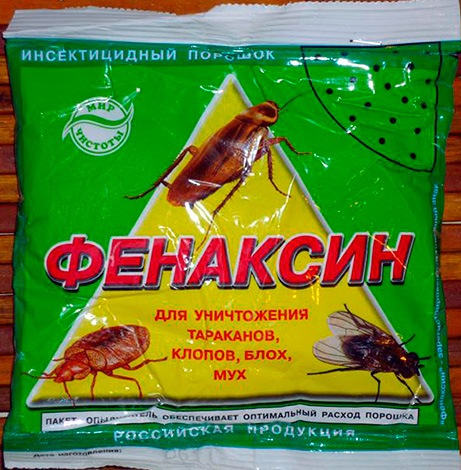 Powdered insecticidal means from cockroaches, bugs, flies and fleas Fenaksin