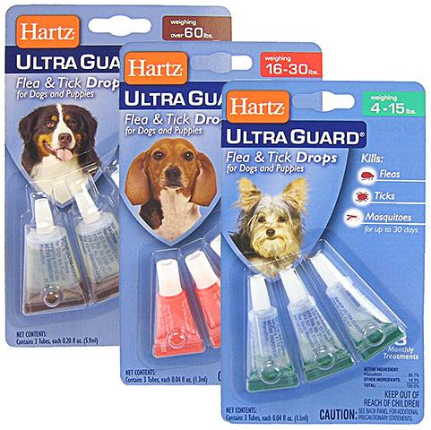 يمكن تصميم قطرات هارتز من البراغيث لفئات مختلفة من الكلاب والجراء
