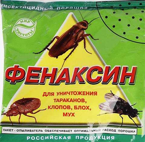 Phenaxin-poeder kan niet alleen worden gebruikt voor de vernietiging van bedwantsen, maar ook voor vlooien en kakkerlakken