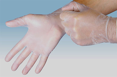 When applying insecticide against lice and nits, wear gloves to protect your hands.
