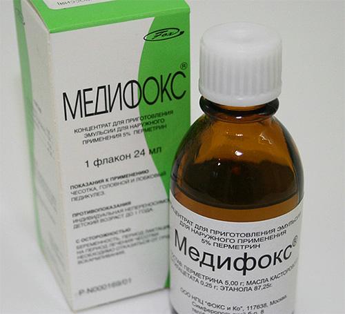 Medifox는 조성물에 강력한 살충제를 함유하고 있으며 어린이의 이가 제거 용으로 사용되어서는 안됩니다.