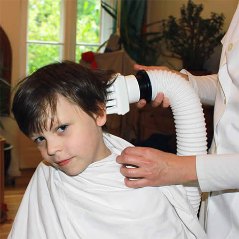 A special hair dryer helps to kill high temperature lice.