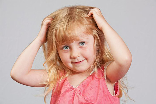 Signs of the presence of lice in a child are permanent scratching of the head and restless behavior.