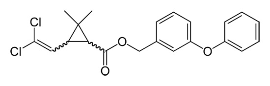 Formula structurală a permetrinului (insecticid eficient, substanța activă a bombei Samuro de fum).