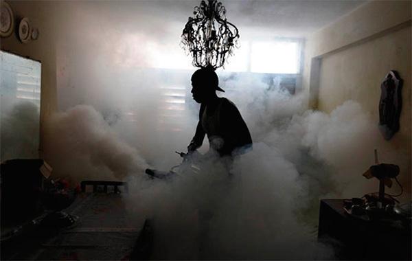 Κατά την επεξεργασία των χώρων με ζεστή ομίχλη, δημιουργείται επίσης ένα πολύ λεπτό εντομοκτόνο αεροζόλ.