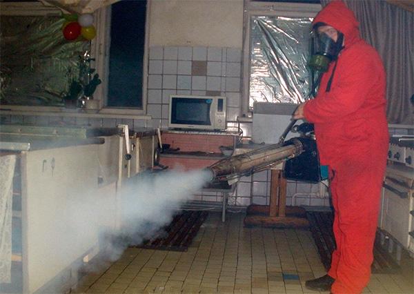 Μια τέτοια διαδικασία επεξεργασίας ενός διαμερίσματος με τη βοήθεια μιας θερμής γεννήτριας ομίχλης θα κοστίσει αρκετές χιλιάδες ρούβλια.
