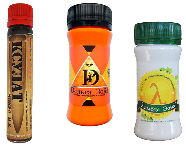 Examples of microencapsulated insect repellents: Xsulat Micro, Delta Zone and Lambda Zone.