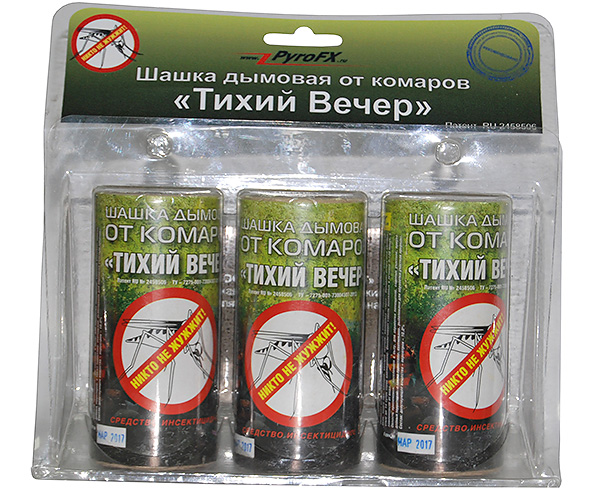 Insecticidal smoke bomb Quiet Evening is effective not only against mosquitoes, but also from bedbugs and other household insects.