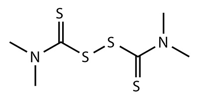 Thiuram (tetramethylthiuram disulfide) - chemical formula