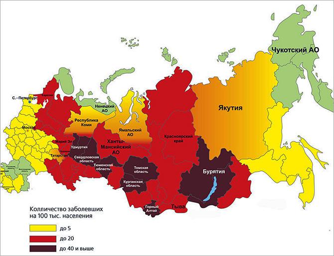 خريطة للالتهاب الدماغي المنقولة بالقراد في الاتحاد الروسي.