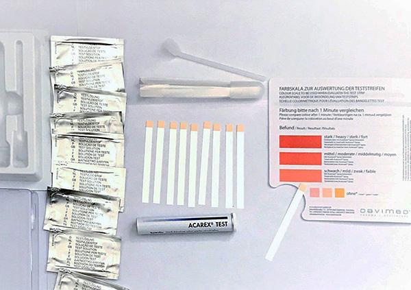 아파트에서 진드기 매개 알레르기 항원의 존재를 평가하는 테스트 시스템의 모습입니다.